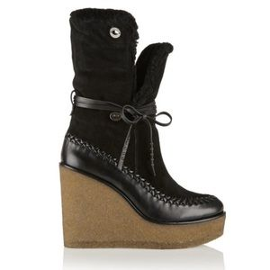 COACH Fringe Moccasin Bootie Black Suede Shearling